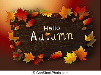 Autumn leaves on brown wood background vector illustration