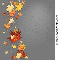 Autumn leaves on dark background