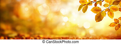 Autumn leaves on shimmering blurred background