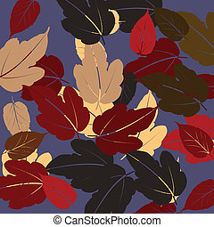 Autumn Leaves on violet background