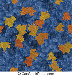 Autumn leaves on water seamless generated texture background