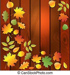 Autumn leaves on wood