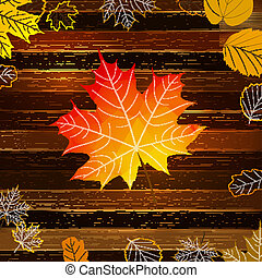 Autumn leaves on wooden background. EPS10