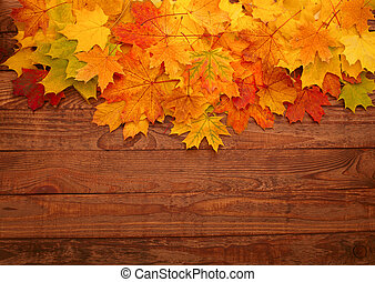 Autumn leaves on wooden table.
