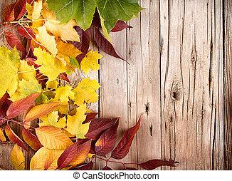 autumn leaves, op, houten plank
