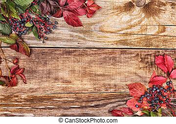 autumn leaves, op, oud, hout