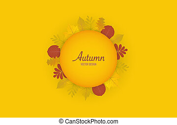 Autumn leaves orange background, vector