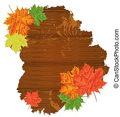 Autumn Leaves over wooden background.With copy space.Vector illustration. Eps 10.