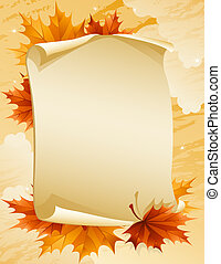 paper scroll with autumn leaves