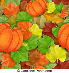 Autumn leaves pattern with pumpkins