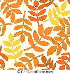 Autumn leaves plants, vector seamless pattern