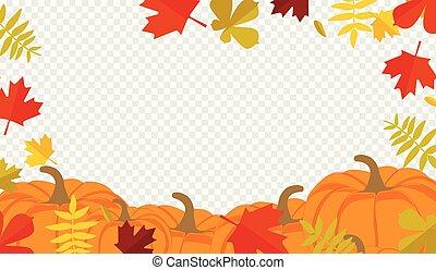 autumn leaves, pompoennen, grens, frame