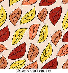 Autumn leaves seamless pattern. Vector natural background of yellow and Red foliage. Retro fabric ornament.