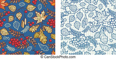 Autumn leaves seamless pattern with Rowan, maple