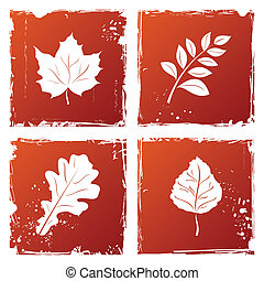 Autumn leaves - Set of grunge autumn leaves. Vector