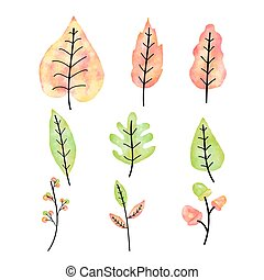 Autumn leaves set watercolor