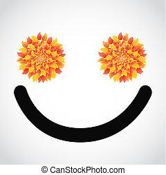 autumn leaves smile face illustration design over white