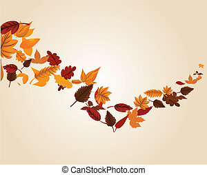 Autumn leaves swirl