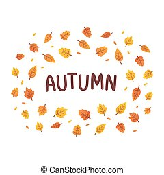 Autumn leaves text frame