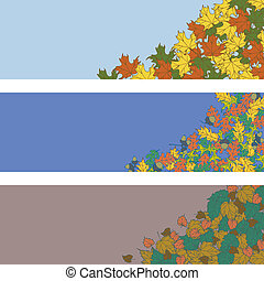 Autumn leaves vector background banner
