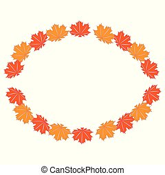 autumn leaves, vector, illustratie, vrijstaand, op wit, achtergrond