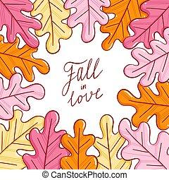 Autumn leaves vector illustration frame