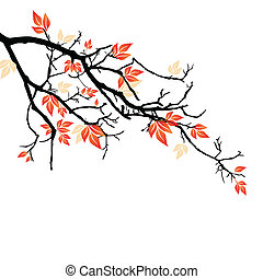 vector illustration of colorful leaves on a branch