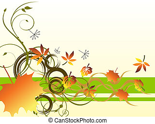 vector illustration of colorful leaves on floral background