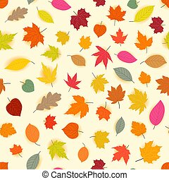 Autumn leaves vector seamless pattern
