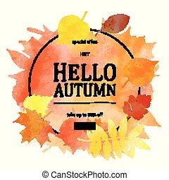 Autumn leaves. Watercolor texture.