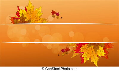 autumn leaves with a banner of white lines