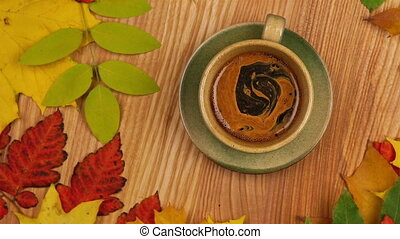 Autumn Leaves with Coffee.