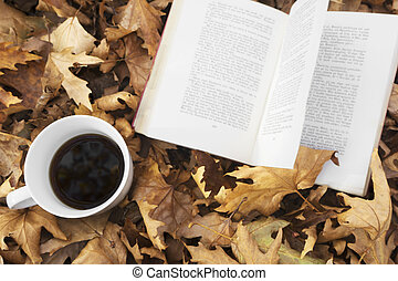 Autumn leaves with cup of coffee and book.