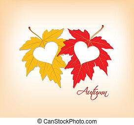 autumn leaves with hearts
