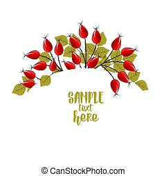Autumn leaves with rose hip - Vector Illustration Autumn ...