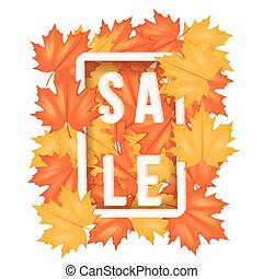 Autumn leaves with Sale Label