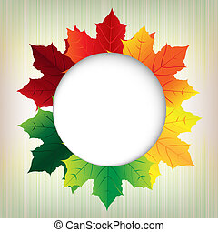 Autumn Leaves With Speech Bubble, Vector Illustration