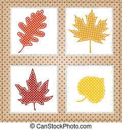 Autumn leaves with square lace