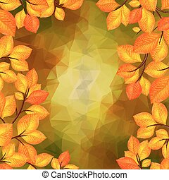 Autumn leaves with triangle background