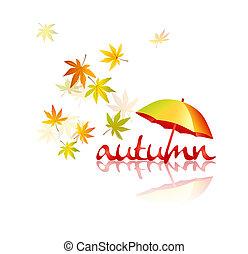 Autumn leaves with umbrella