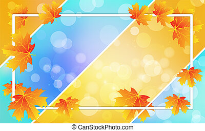 autumn leaves with white frame on bokeh background
