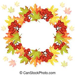 Autumn leaves wreath decor Vector seasonal card