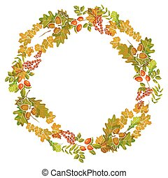 Autumn leaves wreath decoration of fall leaf foliage vector design template