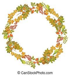 Autumn leaves wreath decoration of fall leaf foliage vector design template