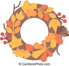 Autumn leaves wreath flat illustration