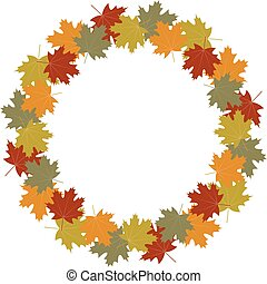 Autumn leaves wreath frame