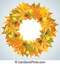 Autumn leaves wreath isolated