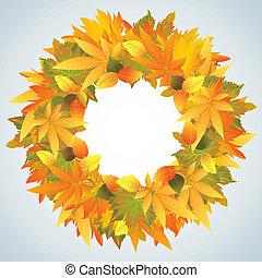 Autumn leaves wreath isolated