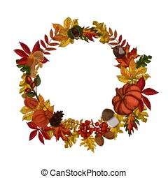 Autumn leaves wreath isolated on white background.