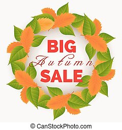 Autumn leaves wreath sale banner